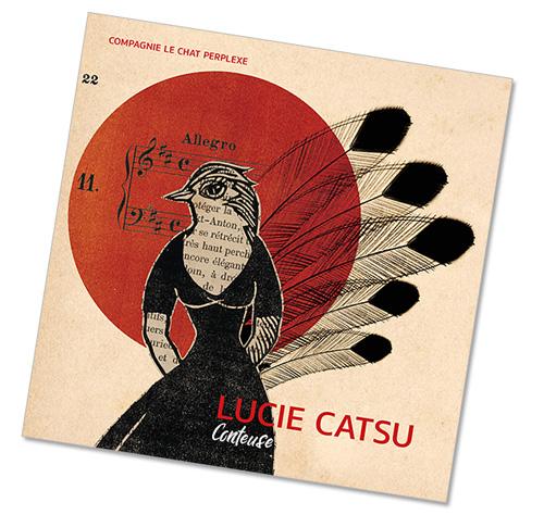 Plaquette de présentation de Lucie Catsu, conteuse. Illu Erika Raïo, graphisme © Timor Rocks !